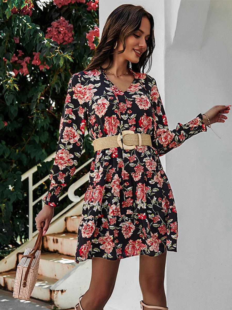 shestar wholesale notch collar flower print flounce dress without belt