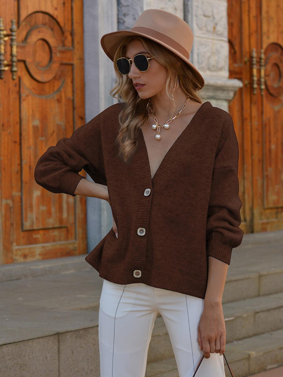 shestar wholesale pure color single breasted jersey cardigan